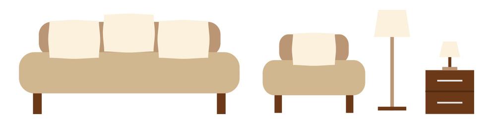 sofa chair lamp nightstand vector