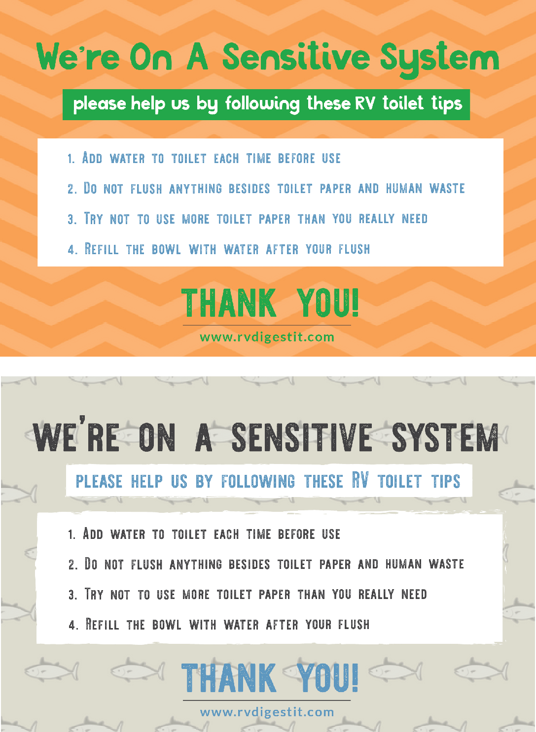 We are on a sensitive system bathroom signs, asking guests to follow tips while using your RV Toilet