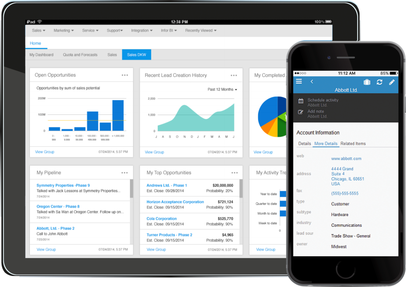Infor CRM dashboard