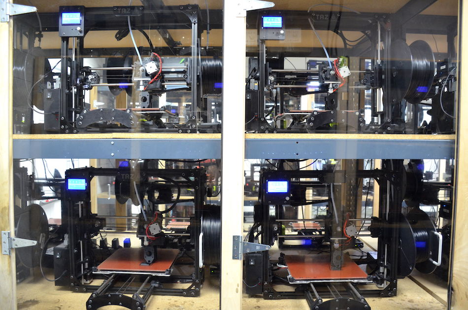 Lulzbot Taz 3D printers making parts for new Lulzbot printers