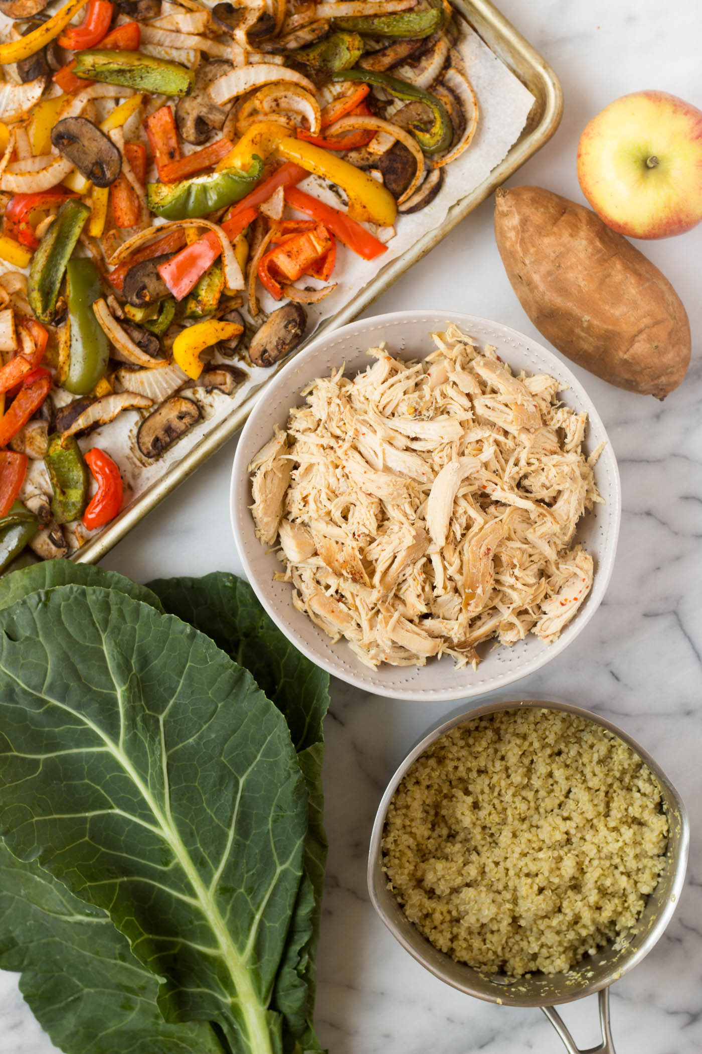 Make meal prep easy with Prep & Recycle - a meal prep guide to making shredded chicken + 5 different meals to repurpose it throughout the week - in under 2 hours! Gluten free, dairy free, and paleo friendly! - Eat the Gains