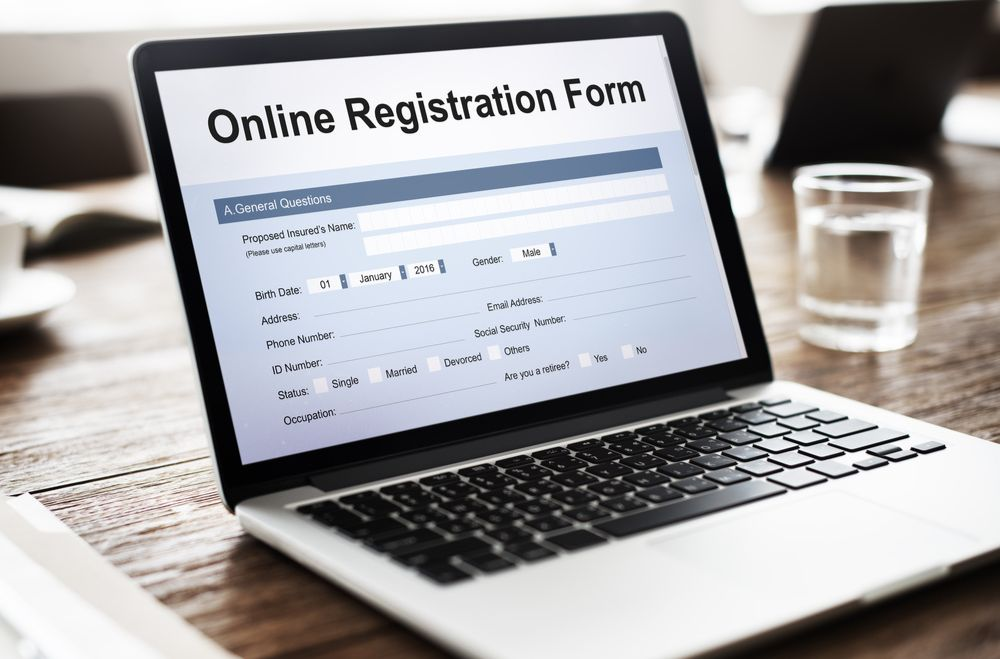 laptop with registration form